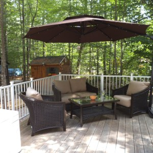 Here's our shady spot on the deck for reading or visiting.
