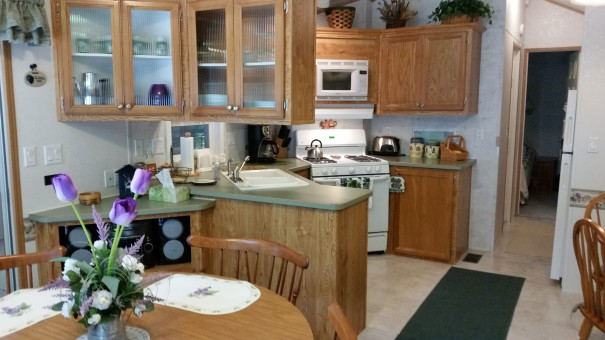 Picture yourself in the kitchen or dining room of the cottage.