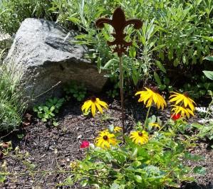 fleur de lis, black eyed susan flower, rock in Sanbornville