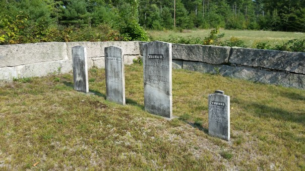 Perkins and Hills family graves in Wakefield NH