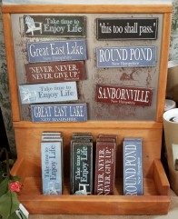 You can find signs for towns and lakes.